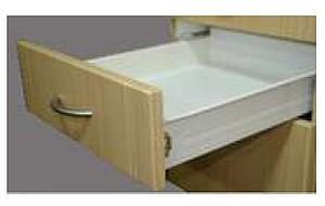 SELF CLOSING DRAWER SLIDE , SINGLE EXTENISON 54 MM HEIGHT X 400 MM IN LENGTH LOAD BEARING CAPACITY - 25 KG. STEEL, CREAM