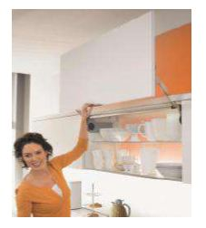 AVENTOS HL WHITE STANDARD LIFT SYSTEM FOR WOODEN FRONTS AND WIDE ALUMINIUM PROFILE FRONTS OF HEIGHT = 450 - 580MM AND FRONT WEIGHT : 4.25 KG TO 9.25 K